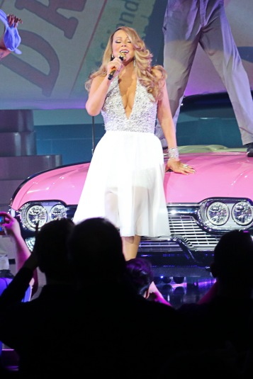 Mariah Carey shows off a range of outfits during the opening night of her residency in Las Vegas! Mariah brought the house down as she performed hit after hit at Caesars Palace in las Vegas. Mariah opened her residency to a packed out house which included riding on a jet ski and in a cadillac before rolling out a bed and singing to a blind folded fan! Mariah was handed flowers as she finished the 2 hour set to a huge reception. Pictured: Mariah Carey Ref: SPL1019428 070515 Picture by: R Chiang / Splash News Splash News and Pictures Los Angeles: 310-821-2666 New York: 212-619-2666 London: 870-934-2666 photodesk@splashnews.com